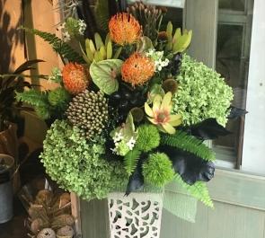 周年祝いアイアンスタンド花