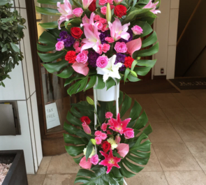 展示会祝いスタンド花