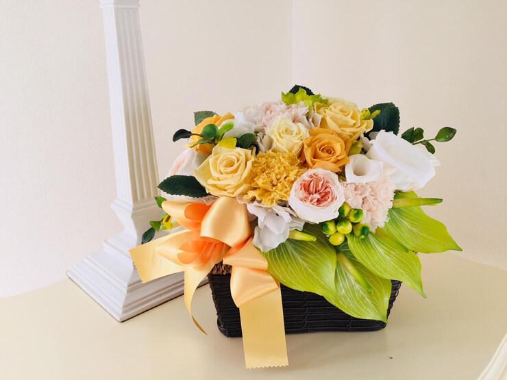 世田谷区 快気祝い花 プリザーブドフラワーイエロー×グリーン