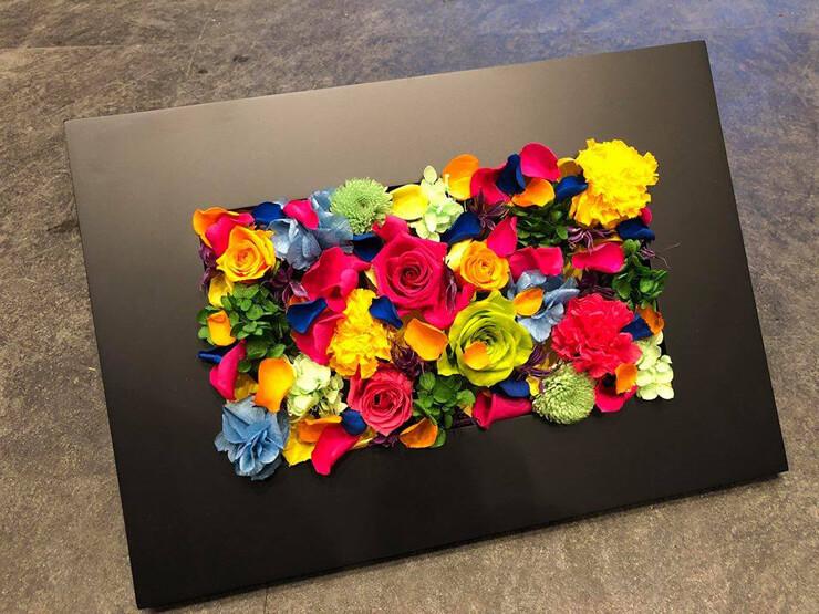 八王子市開店祝い花 プリザーブドフラワーフレームアレンジ