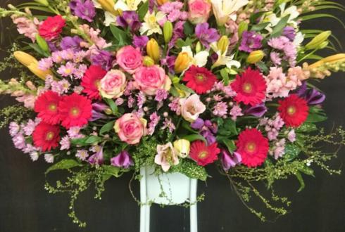池袋 開店祝いピンク赤系スタンド花