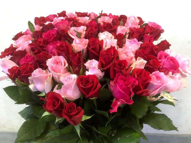 喜寿祝い 77歳誕生日プレゼントに贈られた77本バラの花束Mix