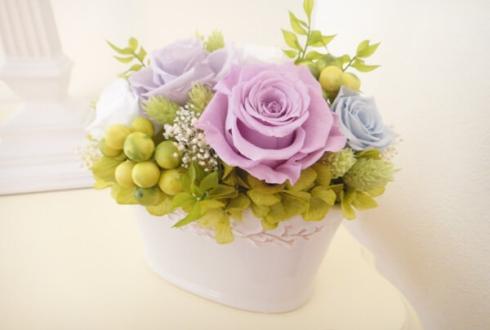 古希祝いに紫の花 プリザーブドフラワーアレンジメント