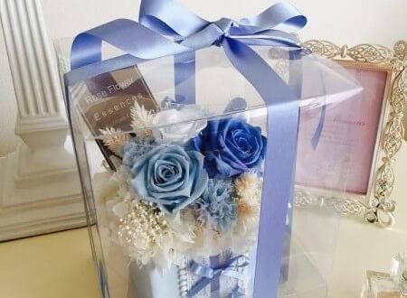 品川区 プロポーズの花 プリザーブドフラワーサムシングブルー