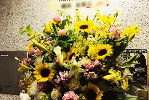 銀座 KUROBE様の7周年祝いひまわりスタンド花