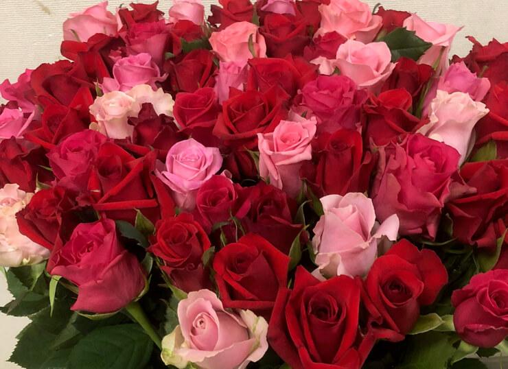 栃木県栃木市 お母様の60歳の誕生日プレゼント 還暦祝いに60本のピンクバラ花束