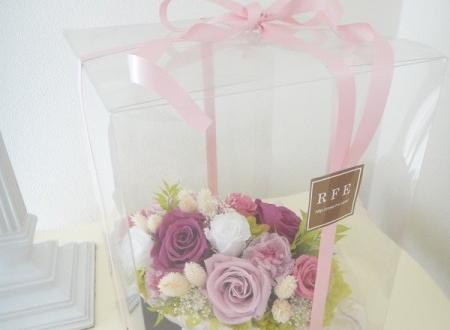 品川区 喜寿祝いに紫の花 プリザーブドフラワー
