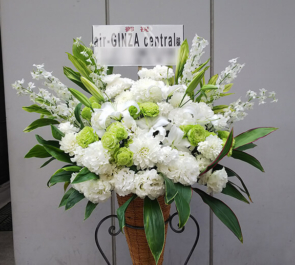 銀座 air-GINZAcentral様の開店祝い白×グリーン コーンスタンド花