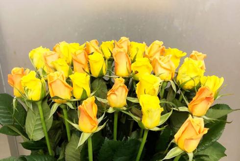 姫路市 誕生日プレゼントに黄・オレンジミックスバラの花束30本