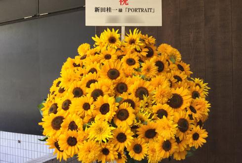 Basement GINZA 新田桂一様の写真展祝いひまわり100本スタンド花