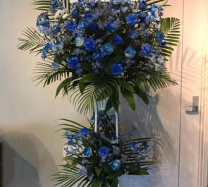 北千住clubA3 まりあ様の誕生日祝いブルー系スタンド花