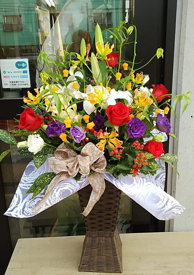 港区芝 バンダイナムコエンターテインメント様の昇進祝い花