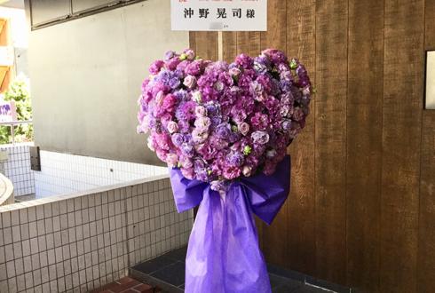 ニッショーホール 沖野晃司様のBASARA CLUB ファンミーティング出演祝いハートスタンド花