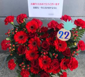 幕張メッセ 欅坂46 佐藤詩織様の握手会祝い花 Redハートアレンジ