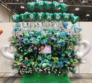 幕張メッセ Love Cocchi 西村歩乃果様のラストアイドル握手会祝い3基連結スタンド花