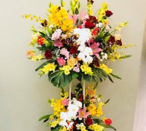 草月ホ-ル 三山ひろし様&けん玉ちばちゃん様の公演祝いスタンド花2段
