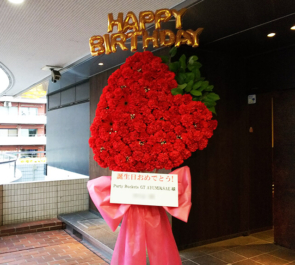 恵比寿CreAto Party Rockets GT AYUMI様 & SAE様の生誕ライブ公演祝いイチゴモチーフデコフラスタ