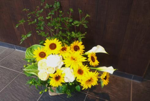 南青山 株式会社ゴンパ様のひまわりメインお祝い花