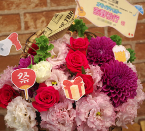 舞浜アンフィシアター 吉野裕行様の5周年記念ライブ公演祝い花 ピンク濃淡