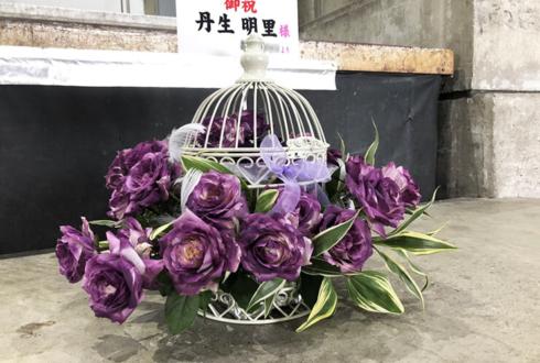 パシフィコ横浜 日向坂46二期生 丹生明里様の握手会祝い花 鳥かごアレンジ