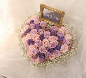 銀座博品館劇場 金井成大様のミュージカル「ハムレット」出演祝い楽屋花 ハートアレンジ