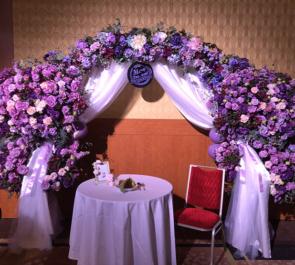 品川プリンスホテル 虹のコンキスタドール 鶴見萌様の生誕祭祝い連結アーチフラスタ