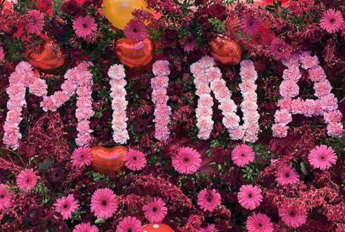 バースデーパーティー会場装飾 FlowerWall(花壁)+アレンジメント @六本木