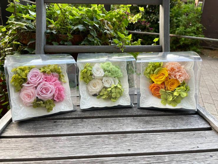 ゆこゆこホールディングス株式会社様の社内行事表彰贈呈用の花 プリザーブドフラワーアレンジメント @銀座