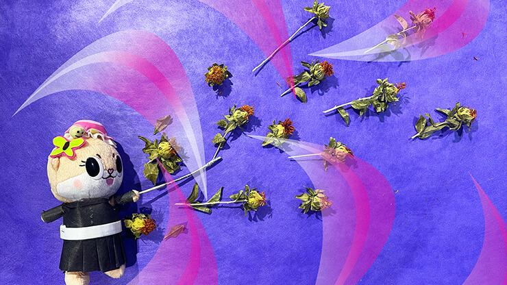 ちぃたん☆鬼滅の刃 栗花落カナヲコスぬい撮り花の呼吸 肆ノ型・紅花衣