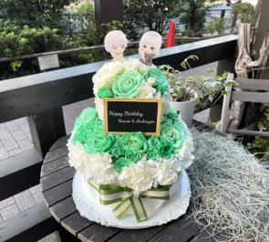 晴歩様 るかにょん様の誕生日祝い&ライブ公演祝い花 フラワーケーキ @大塚Deepa